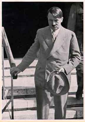 Hitler walking down stairs